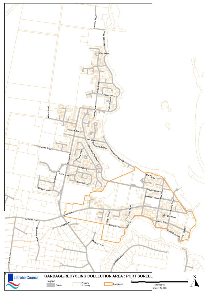 Garbage Collection map Port Sorell